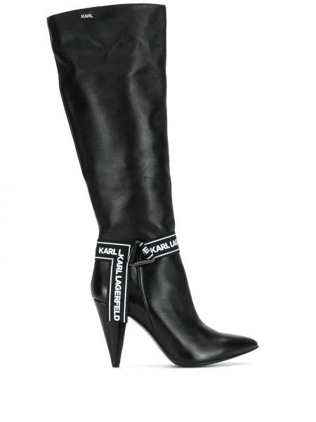 Czarne kozaki na obcasie skorzane Karl Lagerfeld