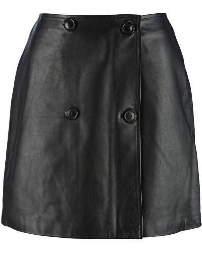 Кожаная черная юбка мини Selected