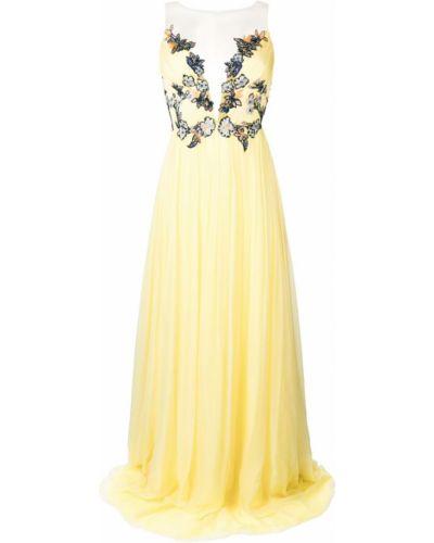 Приталенное желтое вечернее платье на молнии Rhea Costa