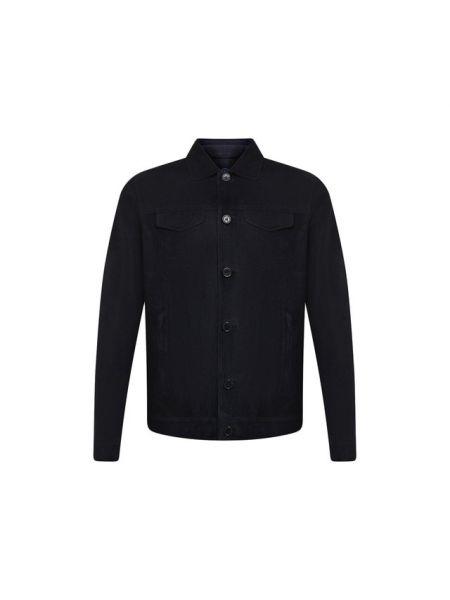 Замшевая кожаная куртка - синяя Andrea Campagna
