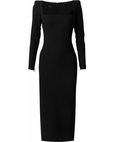 Приталенное черное платье миди с вырезом Alex Perry