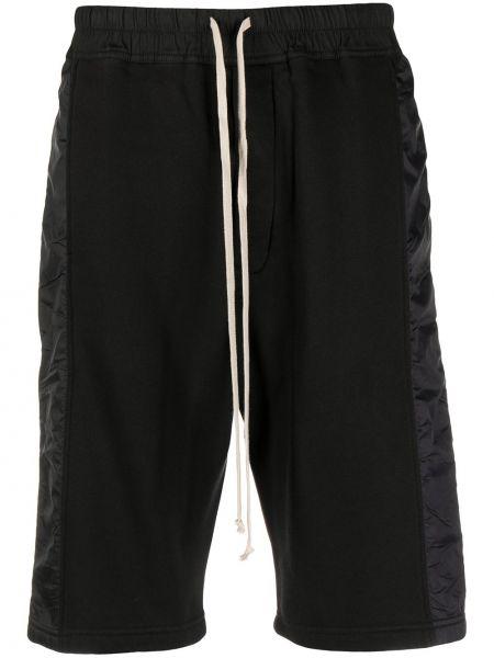 С кулиской хлопковые черные шорты с карманами Rick Owens Drkshdw