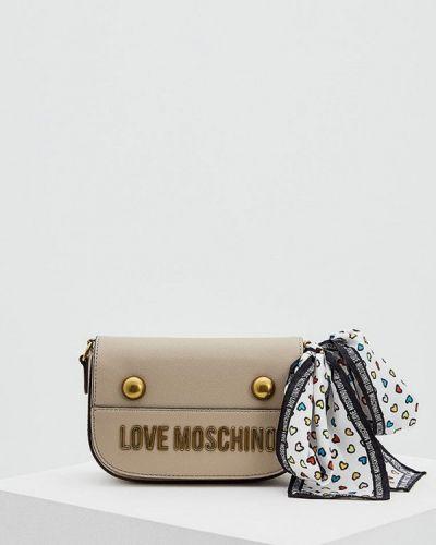 Бежевая сумка через плечо Love Moschino