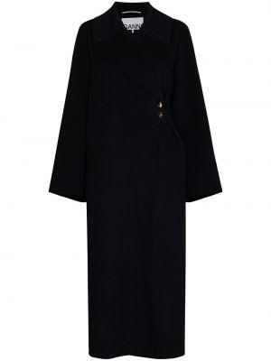 Długi płaszcz wełniany - niebieski Ganni