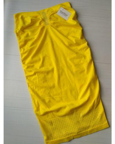 Желтое платье со стразами из микрофибры Greenice