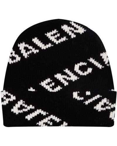Вязаная шапка черная с отворотом Balenciaga