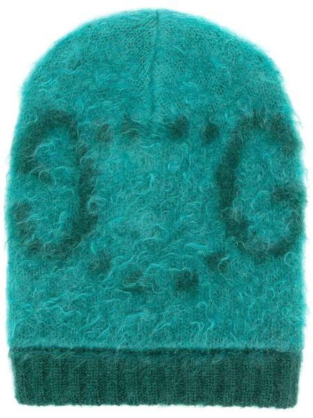 Trykotowy wełniany zielony czapka zimowa przycięte Gucci