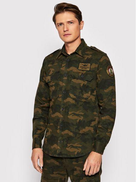 Koszula jeansowa - zielona Aeronautica Militare