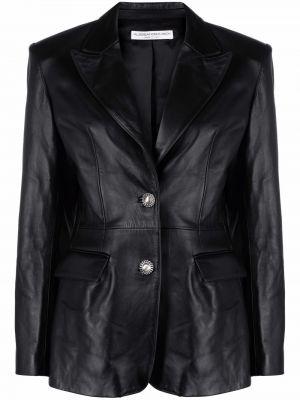 Черный приталенный кожаный классический пиджак Alessandra Rich