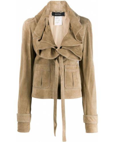Длинная куртка на пуговицах замшевая Gucci Vintage