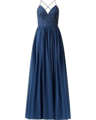 Niebieska sukienka wieczorowa rozkloszowana z szyfonu Laona