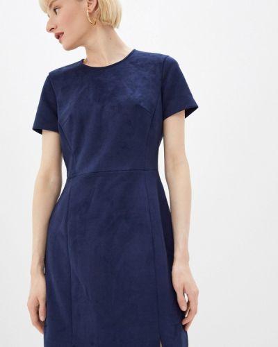 Кожаное синее платье French Connection
