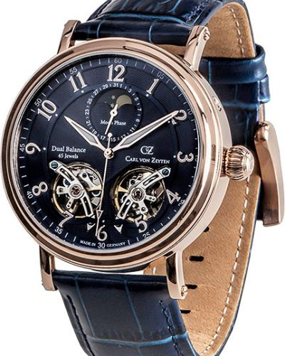 Часы механические водонепроницаемые с кожаным ремешком Carl Von Zeyten