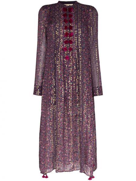 Fioletowa sukienka długa z długimi rękawami z jedwabiu Figue
