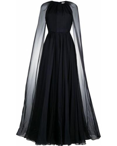 Шелковое синее вечернее платье с вырезом Alexander Mcqueen