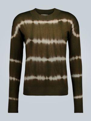 Prążkowany zielony z kaszmiru sweter Rochas