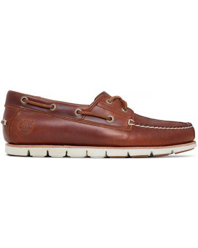 Коричневые кожаные мокасины на шнурках Timberland