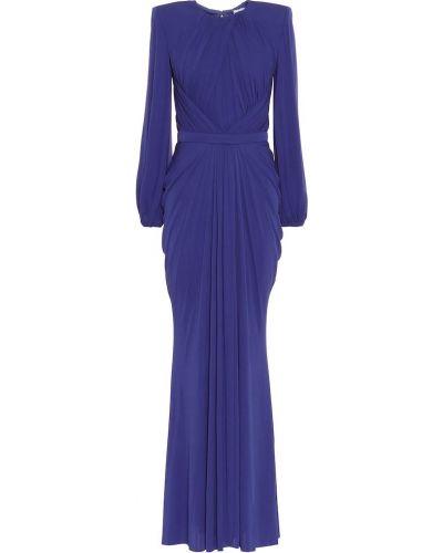 Платье из вискозы синее Alexander Mcqueen
