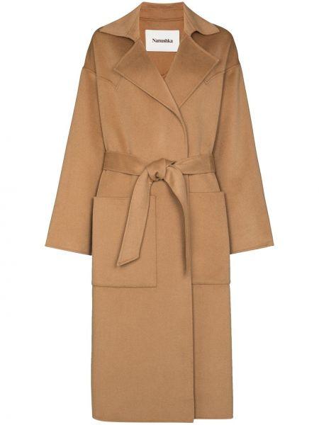 Шерстяное пальто - коричневое Nanushka