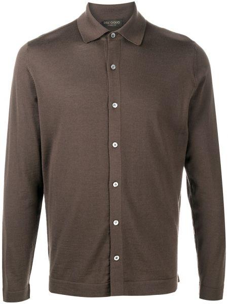 Классическая коричневая прямая классическая рубашка с воротником Dell'oglio