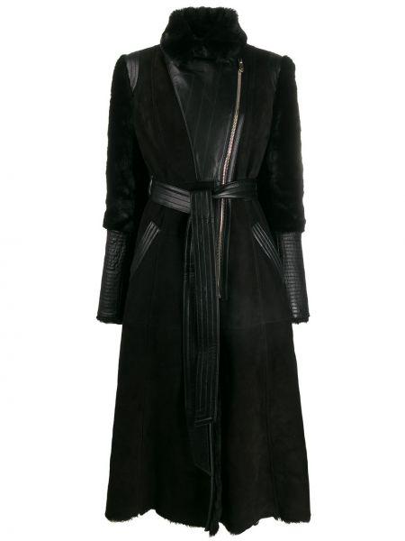 Черное шерстяное кожаное пальто на молнии с поясом Temperley London