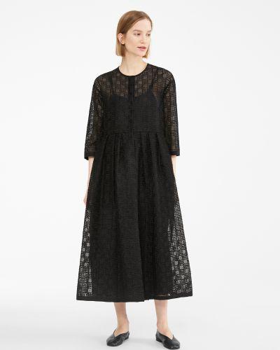 Платье макси в стиле бохо - черное Maxmara