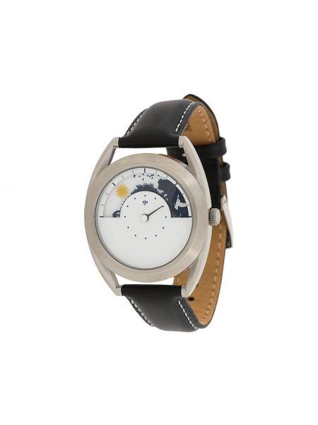 Часы на кожаном ремешке с круглым циферблатом черные Mr Jones