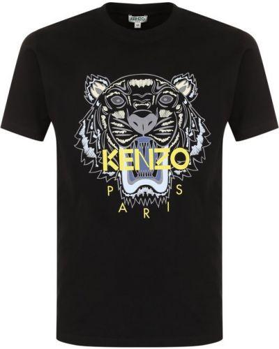 Черная хлопковая футболка с логотипом Kenzo