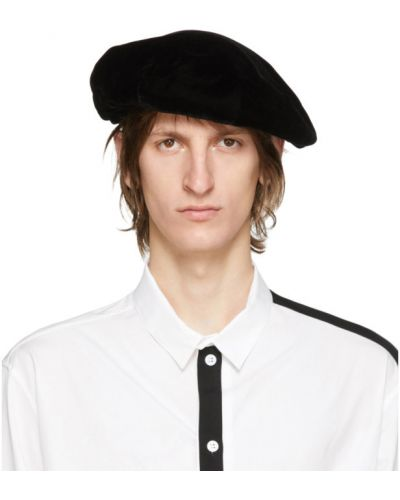 Aksamit czarny beret prążkowany Yohji Yamamoto