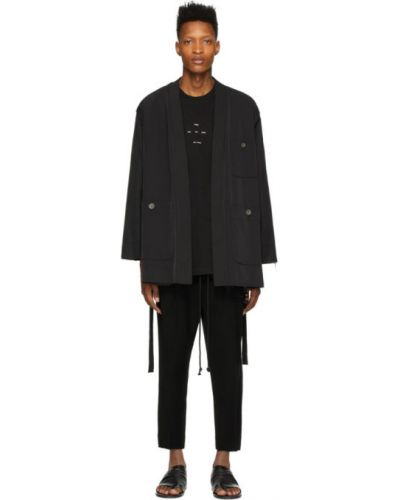 Czarna długa kurtka pikowana z nylonu Song For The Mute