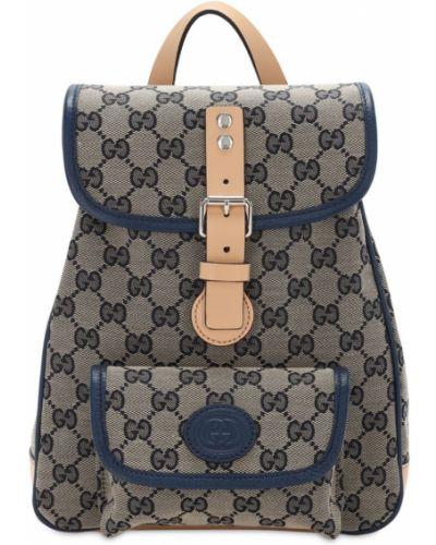Niebieski z paskiem skórzany plecak na paskach Gucci