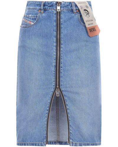 Джинсовая юбка миди - синяя Diesel