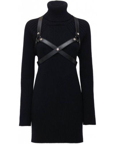 Czarna sukienka mini skórzana Junya Watanabe