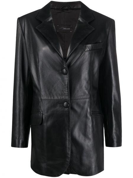 Однобортный черный кожаный классический пиджак Manokhi