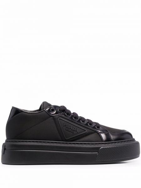 Buty sportowe skorzane - czarne Prada