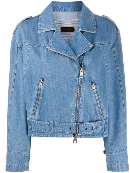 Синяя джинсовая куртка на молнии с воротником Simonetta Ravizza