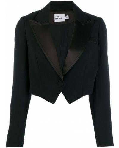 Черный приталенный классический пиджак с подстежкой Self-portrait