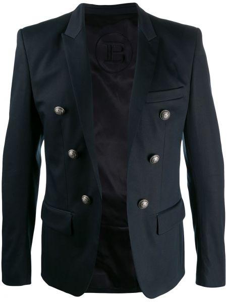 Синий удлиненный пиджак с карманами на пуговицах Balmain