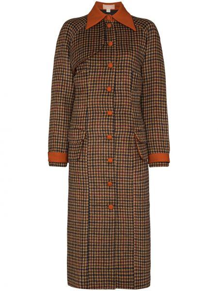 Оранжевое шерстяное пальто в клетку Matériel