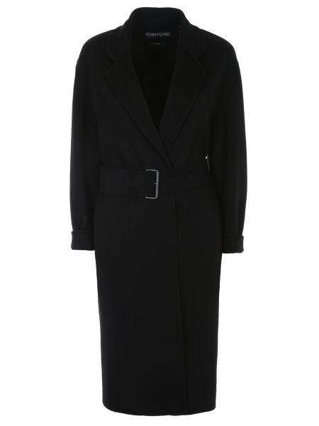 Черное пальто классическое с воротником с поясом с лацканами Tom Ford