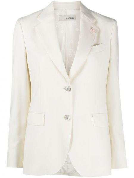 Однобортный белый удлиненный пиджак с карманами Lardini