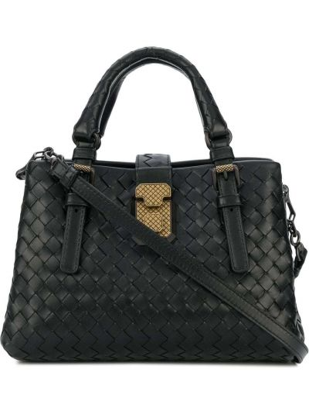 Золотистая черная кожаная сумка на плечо Bottega Veneta
