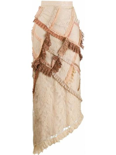 Нейлоновая приталенная ажурная асимметричная юбка Preen By Thornton Bregazzi