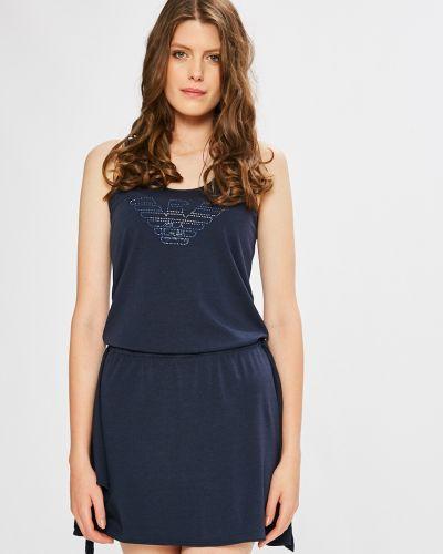 Хлопковое платье мини - синее Ea7 Emporio Armani