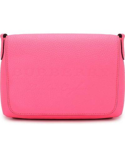 Кожаная сумка розовый с логотипом Burberry