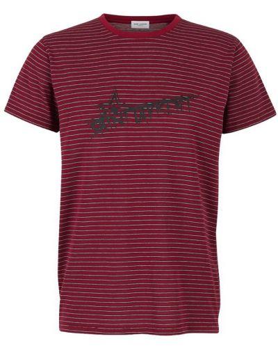 Z paskiem czarny t-shirt w paski Saint Laurent