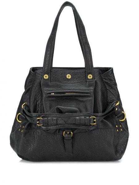 Bawełna bawełna czarny torba na ramię z łatami Jerome Dreyfuss