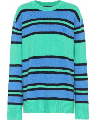 Wełniany zielony sweter z paskami Acne Studios
