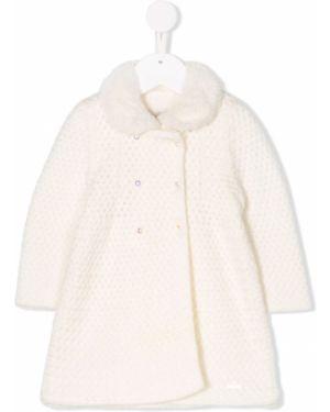 Акриловое вязаное белое длинное пальто Pili Carrera