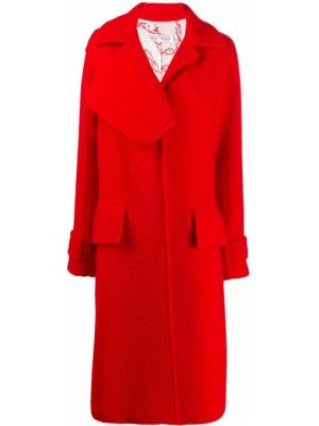 Красное шерстяное длинное пальто с капюшоном Victoria Beckham